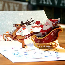 3D Santa Claus Sledding Christmas Card