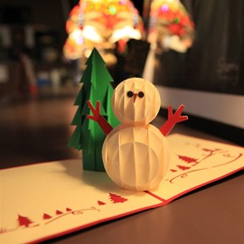 3D Cute Snowman with Hands Christmas Greeting Card
