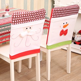 Classic Grid Snowman and Santa Claus Chair Cover