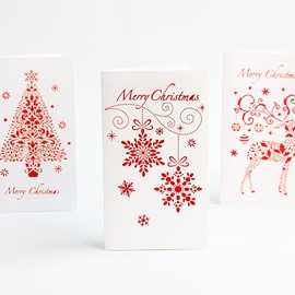 6 Styles Laser Engraved Openwork Red Christmas Card