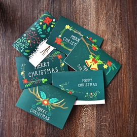 A Set of 6 Thick Green Christmas Greeting Cards