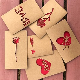 Vintage Kraft Paper Laser Cutout Love Christmas Valentine Card Greeting Card