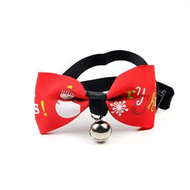 Christmas Dog Cat Festival Red Bow Tie with Bell Pet Collar