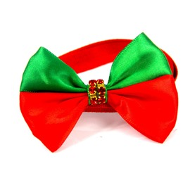 Red and Green Contrast Color Christmas Ordinary Days Pet Bow Tie