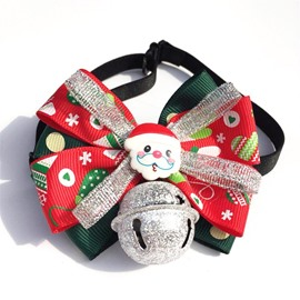 Christmas Dog Cat Festival Bow Tie with Big Bell Pet Collar