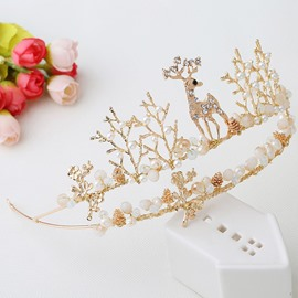 Exquisite Pure Christmas Fawn Pearl Crystal Crown