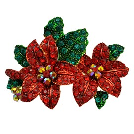 Christmas Series Delicate Bright-coloured Red Flower Brooch