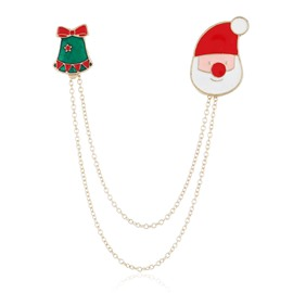 Cartoon Double-layer Chain Bell Santa Brooch