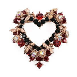 Heart Shaped Leaves Rhinestone Shiny Christmas Brooch