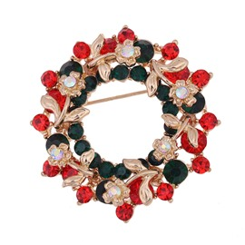 Beautiful Christmas Wreath with Diamond Round Brooch