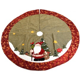 Cute Santa Claus Flower Pattern Edge Tree Skirt