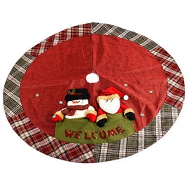 Sant Snowman Red and Green Grid Edge Tree Skirt