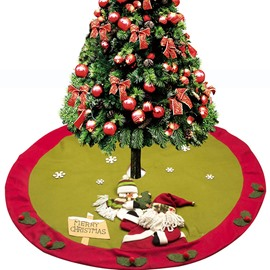 Santa and Snowman with Some Llex Cornutas Edge Tree Skirt