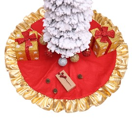 35' Gorgeous Red Golden Curled Hemming Tree Skirt
