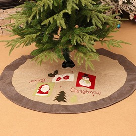 Christmas Elements Cloth Attached Gray Christmas Tree Skirt