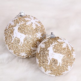 Painted Snowflake Reindeer Hanging Decorative Christmas Ball