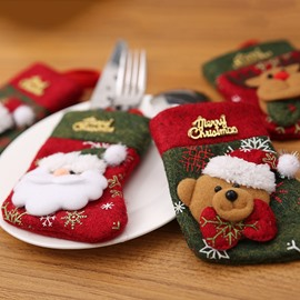 3D Cute Thick Christmas Knife and Fork Stocking Cover