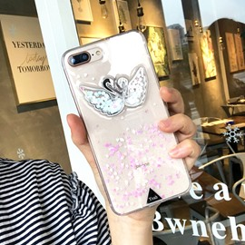 A Pair of Elegant Swan Heart Shaped Sequin Phone Case