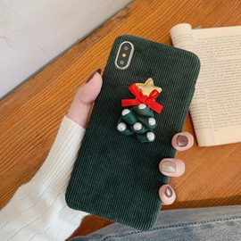 Christmas Series Creative Corduroy Material Phone Case