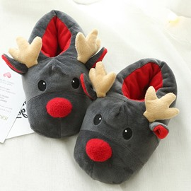 Super Soft Arctic Velvet Christmas Reindeer Slippers