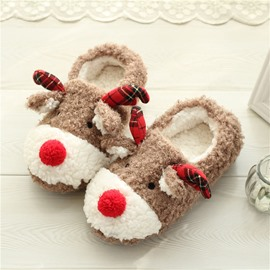 Cute Cartoon Christmas Elk Thick-soled Slippers
