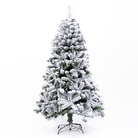 5.9 ft White Flocking Christmas Tree  With Green Pine Needle