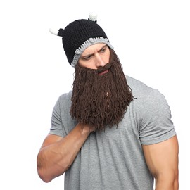 Viking Horn Cap Short Beard Wool Hat
