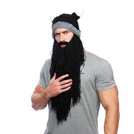 Viking Horn Cap Long Beard Wool Hat