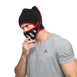 Handsome Roman Warrior Gladiator with Mask Knit Hat