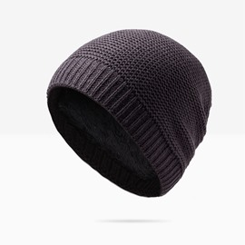 Classic Simple Solid Color with Velvet Warm Knit Hat