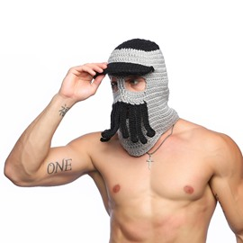 Creative Contrast Color Hooded Octopus Mustache Hat