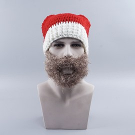 Santa Hat Hand Hook Knit Cap Detachable Beard Warm Wool Cap