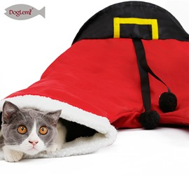 Christmas Santa Pants Pet Cat Tunnel Collapsible 3 Way Play Toy