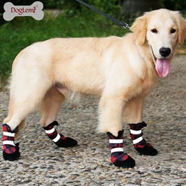 Winter Warm Dog Shoes Splash-proof Boots Leather Bottom Paw Protection Boots