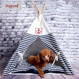 Detachable Navy Striped Wooden Dog House Pet Tent