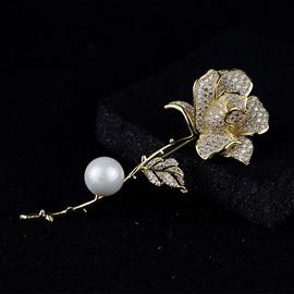 Classic Pearl Rose Accessories Simple Temperament Brooch