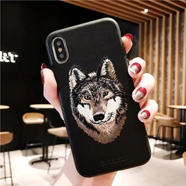 Creative Inwrought Wolf Pattern Leather Protective Phone Case