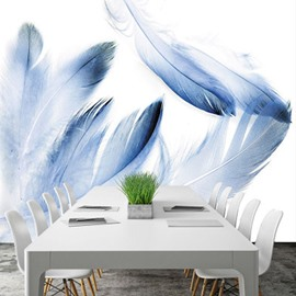 Nordic Style Blue Feather Wallpaper Mural (㎡)
