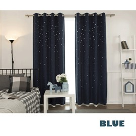 Blackout Polyester Modern Style Small Stars Solid Color Grommet Top Room Curtains