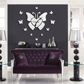 Elegant Silver Butterfly Mirror Acrylic Waterproof and Eco-friendly 1 Piece Wall Clock