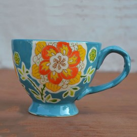 Colored Ceramic Cup Pastoral Style Light Blue European Porcelain Coffee Cups