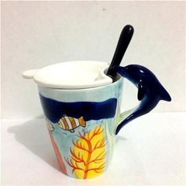 Wonderful 3D Dolphin Marine Life Animals Ceramics Tea Cup Sets Coffee Cup