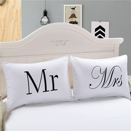 19×29in One Pair Mr and Mrs Valentine's Gifts White Pillowcases