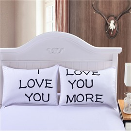 19×29in One Pair Love You and Love You More Valentine's Gifts Pillowcases