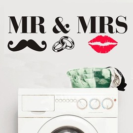Black MR MRS and Red Lips PVC Waterproof and Eco-friendly Wall Stickers