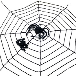 3.5m White Black Large Spider Web Rope with Giant Spider Halloween Decoration
