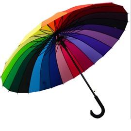 Windproof UV Protection Big Straight Outdoor Rainbow Color Wheel Umbrella