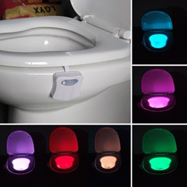 Modern Creative Plastic 8 Colors Changing Battery Motion Activated Toilet Nightlight