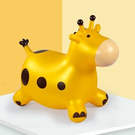 Creative Yellow Giraffe Shape Thicken PVC Material Kids Toy Jumping Horse