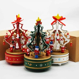 Exquisite Wooden Hand-cranked Christmas Tree Music Box